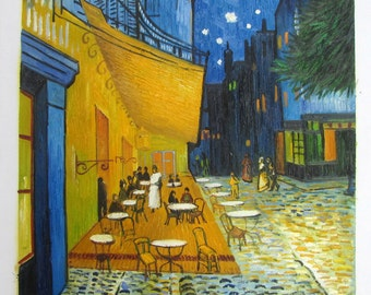Van Gogh Cafe Terrace at Night By Vincent Van Gogh, Linen Canvas, Oil Painting