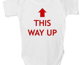 Funny Baby Grow - This Way Up with FREE P&P  Made from 100% Soft Natural Cotton.