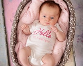 Hello I'm new here newborn embroidered shirt- Can be personalized with name - great for newborn pictures- You can choose colors