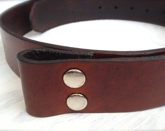 Rustic Red Brown Leather Belt - Custom Sized Snap Leather Belt - Belt for Removable Buckles in Red Brown Leather