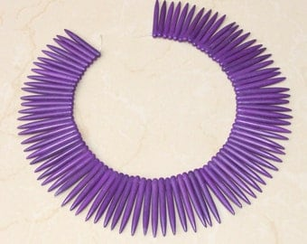 Purple Turquoise Points Spikes -16 inch Strand. - 5mm x 45mm Long