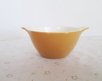Small Yellow Mixing Bowl with Handles; Similar to Pyrex or Fire King/Anchor Hocking, Dark Yellow Mixing Bowl, Holds 2 1/2 Cups or 20 Oz.