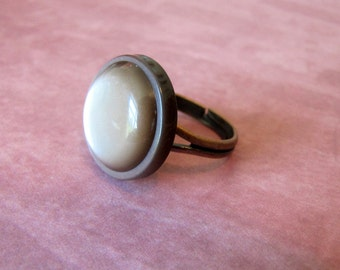 Brown Bubble Button Ring