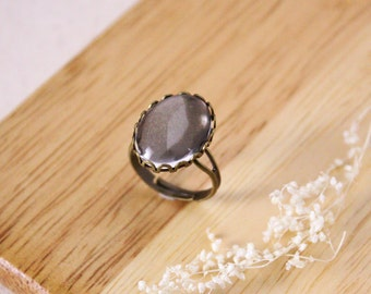 DIY 18mm x  13mm Crystal clear glass with bronze ring kit, 2 set