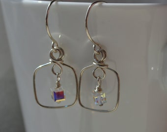 Crystal AB Swarovski Crystal and Sterling Silver Earrings Handmade Wire Wrapped