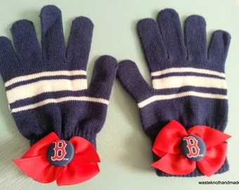 Red Sox gloves--one of a kind-unique-handmade