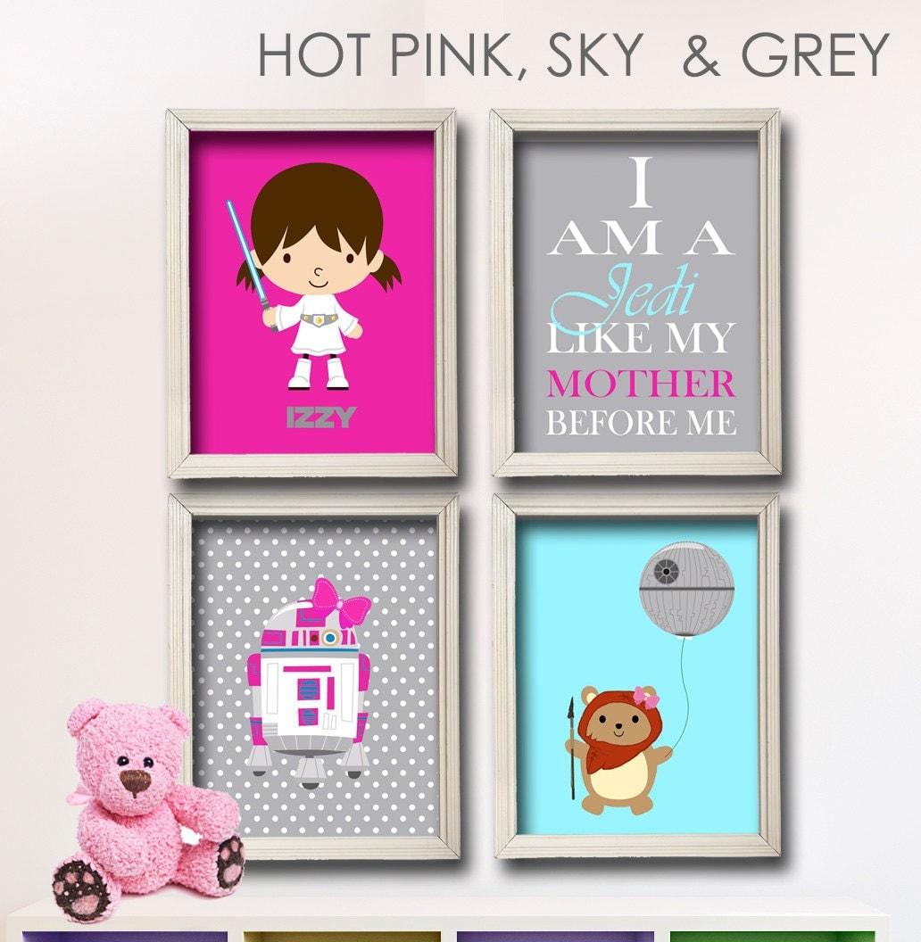 Baby girl star wars nursery art girl room decor by for Room decor gifts