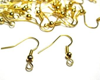50pcs Gold Plated  Ear Wire Earrings Hooks 18mm