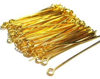 100pcs Gold Plated Eye Pins 1.5''21ga(No.557)