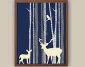 Woodland Nursery Art - Deer - Fawn - Stag - Forest Nursery Decor - Birch Tree Wall Art - Owl Nursery Decor - Any Color Available