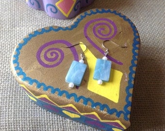 Ocean blue glass bead earrings