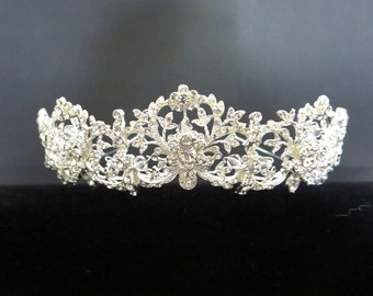 Dramatic Bridal headpiece, Wedding tiara, Bridal tiara, Rhinestone Bridal headband, Vintage inspired headpiece