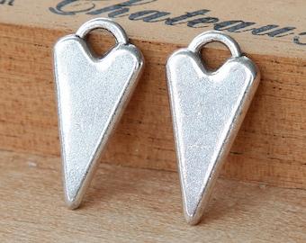 6 pcs Fancy Heart Charms, Antique Silver, 22mm