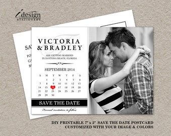DIY Printable Calendar Save The Date Postcard, Photo Save The Date Postcard, Wedding Save The Date Post Card With Monogram And Calendar