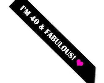 40 & Fabulous Sash - Black