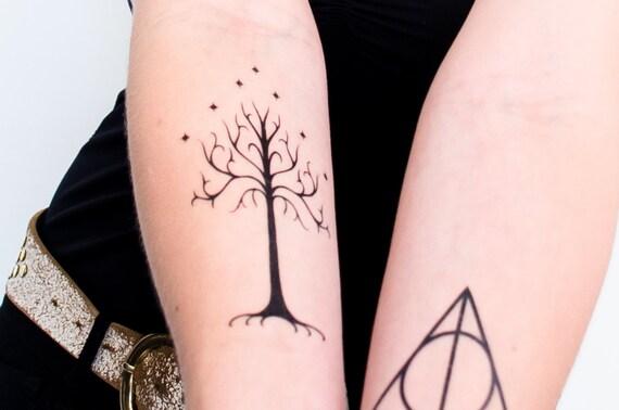 arbre du gondor temporaire tatouage. Black Bedroom Furniture Sets. Home Design Ideas