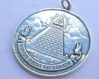 All Seeing Eye Pyramid Masonic Pendant Sterling Silver 925