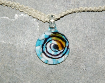 Natural Handmade Hemp Necklace With Blown Glass Pendant