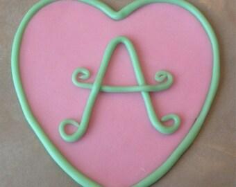 Monogram Heart Cake Topper