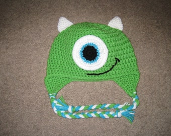 Custom Monsters Inc Mike Wazowski Crochet Hat