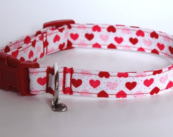 """Handmade White w Red & Pink Hearts Dog Collar """"New"""""""