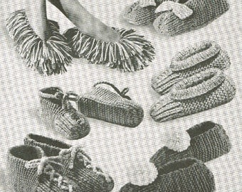 VCP128 speedy slippers  vintage knitting pattern PDF instant download