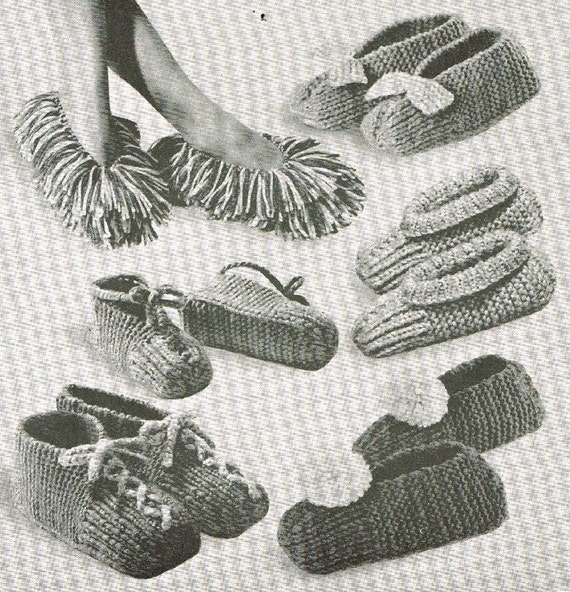 Knitting Vintage Things : Items similar to vcp speedy slippers vintage knitting