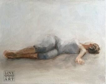 Art Print of Original Yoga Oil Painting: Release