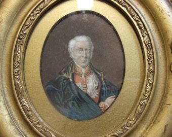 Antique original old Baxter print c19 Duke of Wellington portrait oval frame history Waterloo