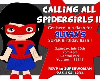 Spider Girl Birthday Invitation / 5x7 / Printable Digital File