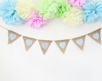 Baby Shower Bunting Heart Banner Garland, Photo Prop, Birthday decor