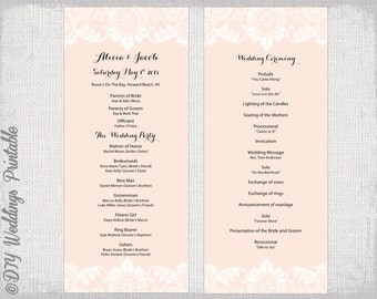 Wedding program template pale pink antique lace wedding for Wedding ceremony order of service template free