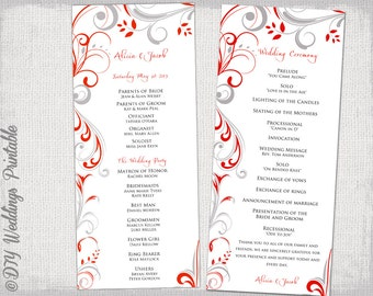 wedding program template red gray scroll wedding order of ceremony program templates diy
