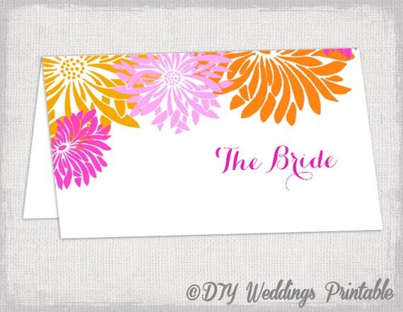 Place card template -Pink u0026 Orange DIY wedding name cards -u0026quot;Flower ...