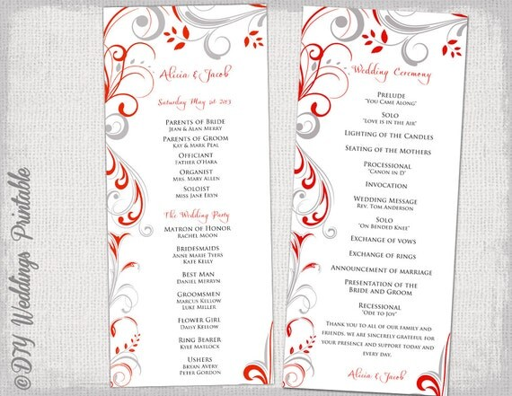 scroll wedding program templates