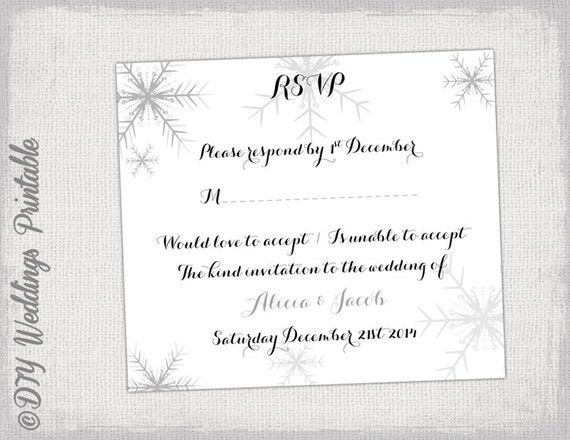 wedding rsvp template download diy silver gray snowflakes printab