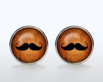 Mustache Cufflinks Silver plated Mustache Cuff links men hipster Accessories Birthday Party  Wedding Gifts Antique Vintage black brown