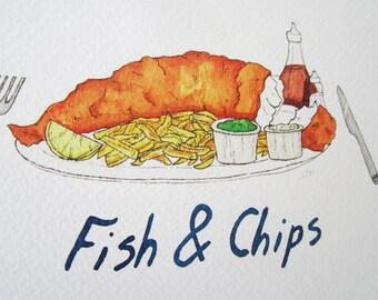 Fish & Chips Print - Traditional British Foods - Pub Grub