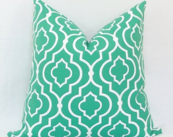 """Teal & white Moroccan tile indoor/outdoor throw pillow cover. 18"""" x 18"""" outdoor pillow cover. toss pillow."""