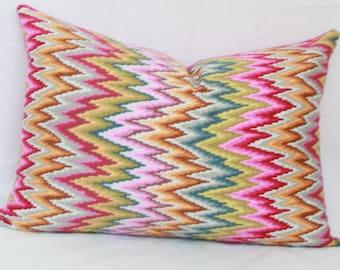 "Pink, green, tan, gray chevron decorative throw pillow cover.  12"" x 20"". 13"" x 20"". 20"" x 20"" designer pillow cover."