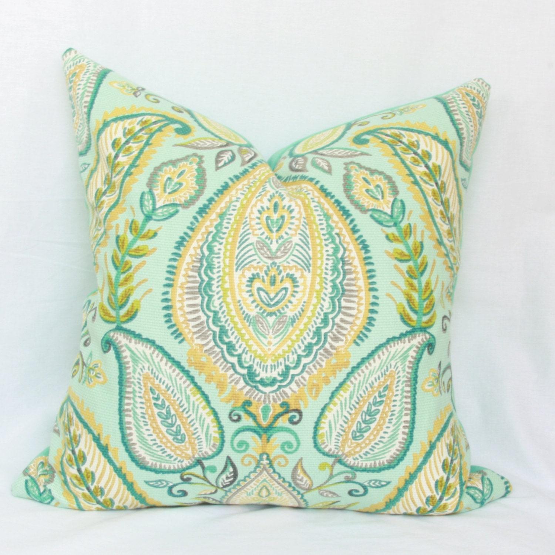 Aqua blue teal & citrine decorative pillow cover. 18 x