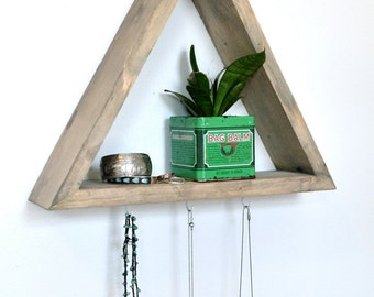 Triangle Shelf with 3 Hooks