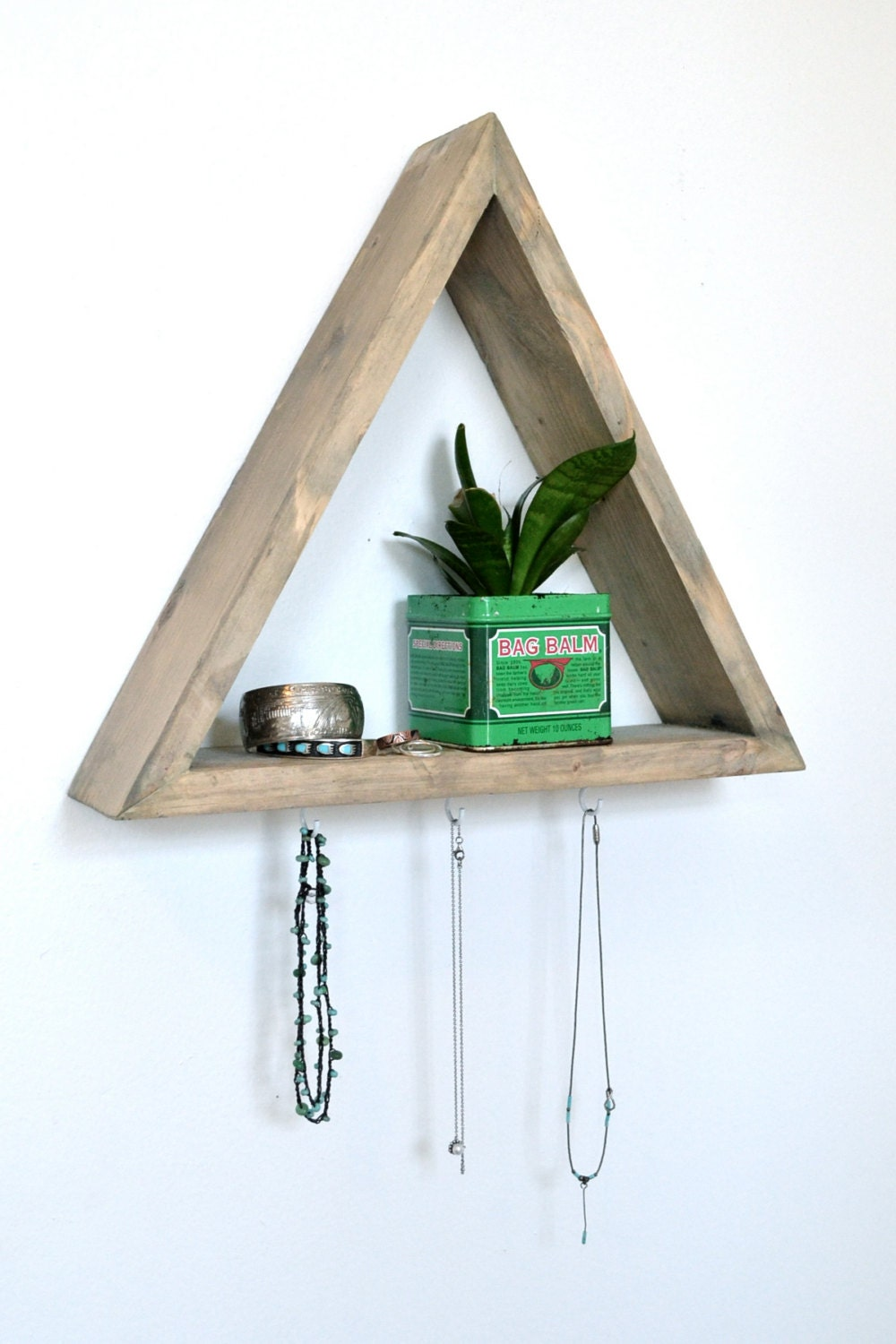 Triangle shelf with 3 hooks - Triangular bookshelf ...