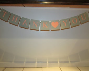 Coral and Grey Wedding Thank You Banner, Thank You Wedding Banner, Thank You Wedding Photo Prop
