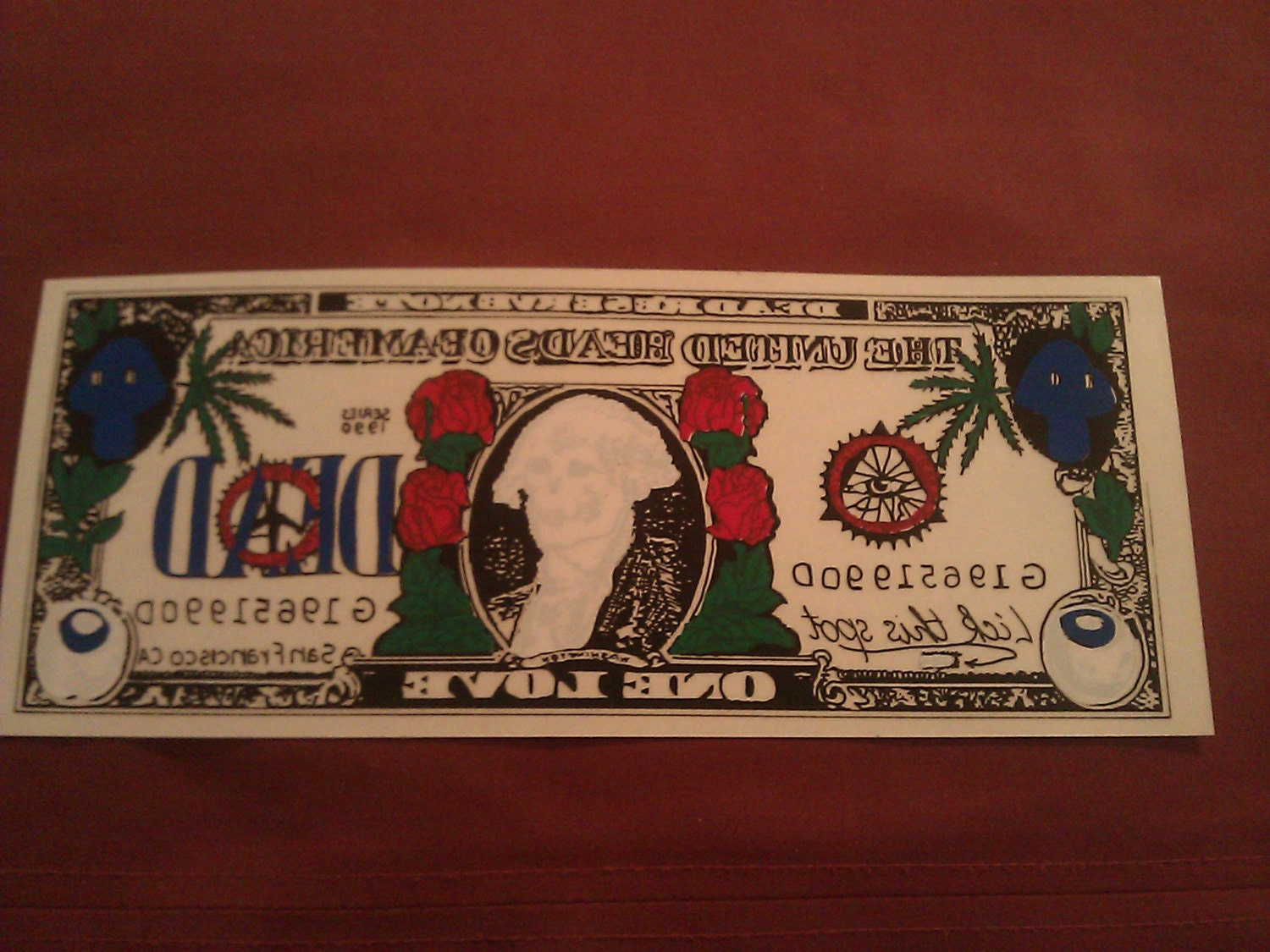 "Grateful Dead Dollar Bill 8 5/8""x3 1/2"" Window STICKER"
