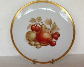 Vintage Harvest plates, set of 4, E&R China, Jaeger, Bavaria, Germany, fruit pattern plates, apples, grapes, pears, and persimmon