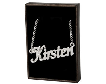 Name Necklace Kirsten - White Gold Plated 18ct Personalised Necklace with Swarovski Elements