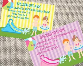 PRINTED or DIGITAL Water Slide Pool Outdoor Boy Girl Water Birthday Party Invitations 5x7 Customized Waterslide Design 0.82 each