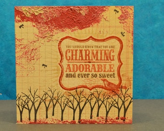 Charming -- Wall hanging or free standing mixed media panel