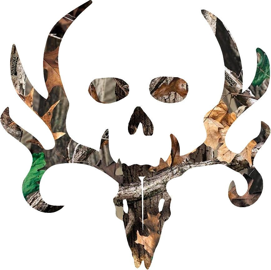 Bone Collector Style Buck And Skull Camo Decal Sticker